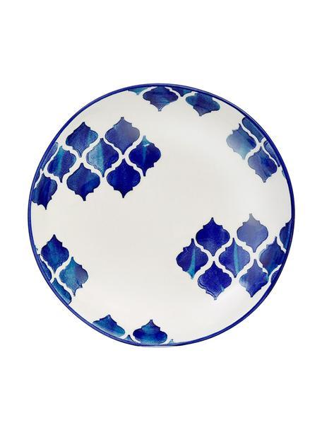 Ręcznie wykonany talerz głęboki Ikat, 6 szt., Ceramika, Biały, niebieski, Ø 23 cm