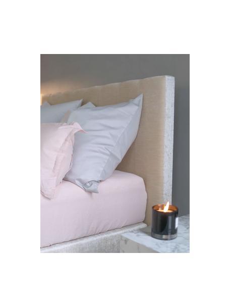 Prześcieradło z gumką  z organicznej satyny bawełnianej Premium, Blady różowy, S 90 x D 200 cm