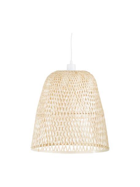 Handgemaakte hanglamp Eve van bamboehout, Lampenkap: bamboehout, Bamboekleurig, Ø 40  x H 40 cm