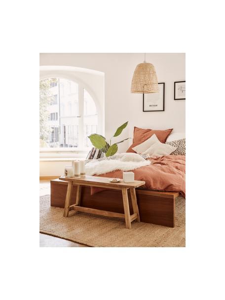 Lampada a sospensione fatta a mano in bambù Eve, Paralume: bambù, Baldacchino: metallo verniciato a polv, Bambù, Ø 40 x Alt. 40 cm