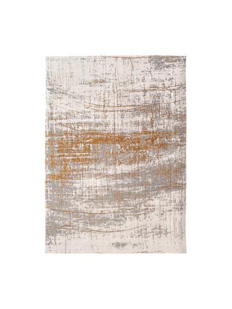 Vloerkleed Griff, Bovenzijde: 85%katoen, 15%hoogglanz, Weeftechniek: jacquard, Onderzijde: katoenmix, gecoat met lat, Grijs, goudkleurig, wit, B 80 x L 150 cm (maat XS)