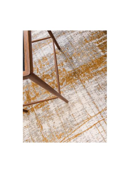 Design vloerkleed Griff in vintage stijl, Bovenzijde: 85%katoen, 15%hoogglanz, Weeftechniek: jacquard, Onderzijde: katoenmix, gecoat met lat, Grijs, goudkleurig, wit, B 80 x L 150 cm (maat XS)