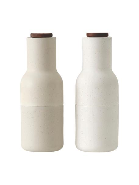 Designer Salz- & Pfeffermühle Bottle Grinder in Beige mit Holzdeckel, Korpus: Kunststoff, Mahlwerk: Keramik, Deckel: Buchenholz, Sandfarben, Braun, Ø 8 x H 21 cm