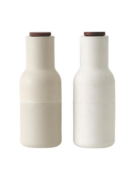 Designer peper- en zoutmolen Bottle Grinder in beige met houten deksel, Frame: kunststof, Deksel: hout, Zandkleurig, bruin, Ø 8 x H 21 cm