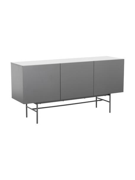 Modern dressoir Anders met deuren in grijs, Frame: gelakt MDF, Poten: gepoedercoat metaal, Frame: grijs. Poten: mat grijs, 160 x 80 cm