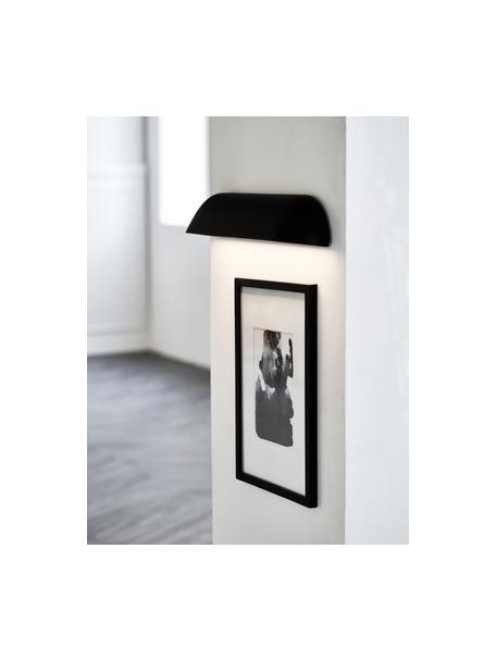 Aplique LED para exterior de diseño Front, Pantalla: acero pintado, Negro, blanco semitransparente, An 36 x Al 7 cm