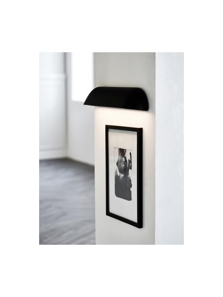 Design LED wandlamp voorkant, Lampenkap: gelakt staal, Diffuser: kunststof, Zwart diffuser: wit, melkachtig-transparant, 36 x 7 cm
