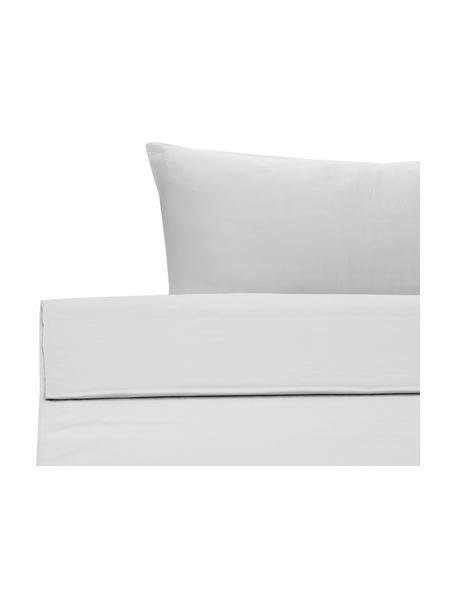 Set lenzuola in raso di cotone grigio chiaro Comfort, Grigio chiaro, 180 x 300 cm + 2 federe 50 x 80 cm