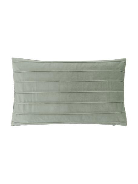 Federa arredo in velluto verde salvia con motivo Lola, Velluto (100% poliestere), Verde, Larg. 30 x Lung. 50 cm