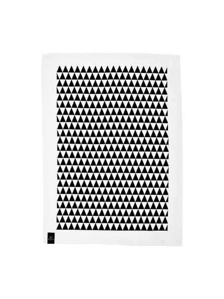 Halflinnen theedoeken Dreieck, 2 stuks, 50% linnen, 50% katoen, Wit, zwart, 50 x 70 cm