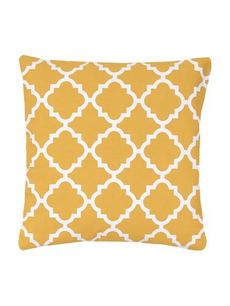 Poszewka na poduszkę Lana, 100% bawełna, Musztardowy, biały, S 45 x D 45 cm