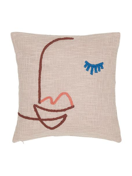 Grob gewebte Kissenhülle Faces mit abstrakter Stickerei, Bio-Baumwolle, 100% Bio-Baumwolle, Rosa, Dunkelrot, Blau, 45 x 45 cm