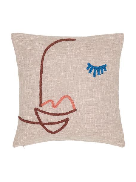 Haftowana poszewka na poduszkę z bawełny organicznej Faces, 100% bawełna organiczna, Blady różowy, ciemny czerwony, niebieski, S 45 x D 45 cm