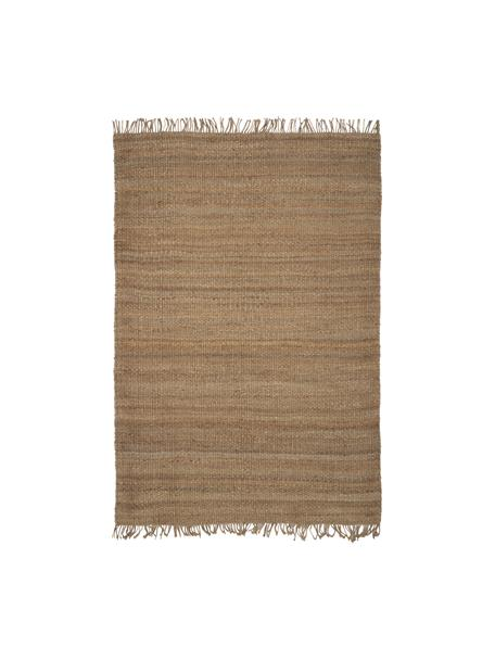 Handgemaakt juten vloerkleed Cadiz met franjes, 100% jute, Jutekleurig, B 80 x L 150 cm (maat XS)