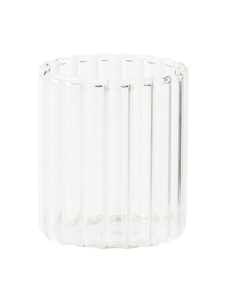 Wassergläser Romantic aus Borosilikatglas mit Rillenrelief, 6 Stück , Borosilikatglas, Transparent, Ø 8 x H 9 cm