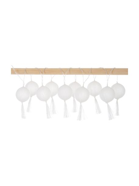 LED-Lichterkette Jolly Tassel, 185 cm, 10 Lampions, Lampions: Baumwolle, Weiss, L 185 cm