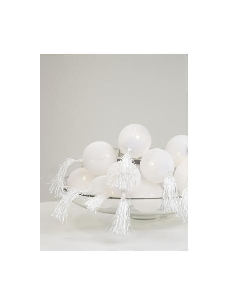 LED-Lichterkette Jolly Tassel, 185 cm, 10 Lampions, Tasseln: Baumwolle, Weiß, L 185 cm