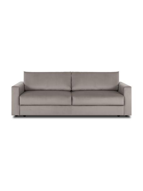 Sofa rozkładana z aksamitu Tasha, Tapicerka: aksamit (100% poliester) , Stelaż: lite drewno sosnowe, skle, Nogi: tworzywo sztuczne, Aksamitny beżowy, S 235 x G 100 cm