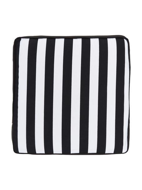 Cojín de asiento alto a rayas Timon, Funda: 100%algodón, Negro, An 40 x L 40 cm