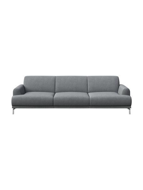 Sofa Puzo (3-osobowa), Tapicerka: 100% poliester, Nogi: metal lakierowany, Jasny szary, S 240 x G 84 cm