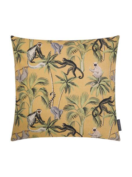 Dubbelzijdige kussenhoes Backwoods met tropische print, 85% katoen, 15% linnen, Mosterdgeel, multicolour, 50 x 50 cm