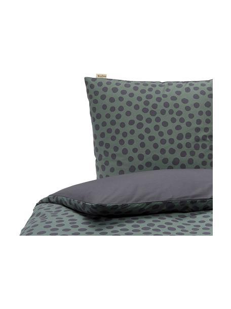 Pościel z bawełny Spots and Dots, Ciemny zielony, czarny, 135 x 200 cm