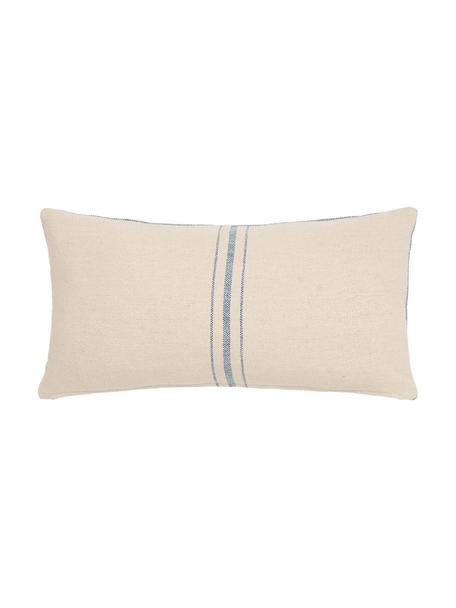 Kissenhülle Capri mit Streifen, 100% Baumwolle, Cremefarben, Blau, 30 x 60 cm