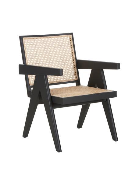 Loungefauteuil Sissi met Weens vlechtwerk, Frame: gelakt eikenhout, Zitvlak: rotan, Zwart, beige, B 58 x D 66 cm