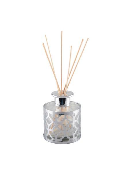 Diffusore Helion (vaniglia), Metallo, vetro, olio profumato, bastoncini di legno, Argentato trasparente, Ø 9 x Alt. 24 cm