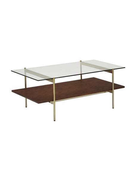 Salontafel Valentina met glazen tafelblad, Tafelblad: glas, Plank: MDF met essenhoutfineer, , Frame: gegalvaniseerd metaal, Transparant, bruin, 100 x 40 cm