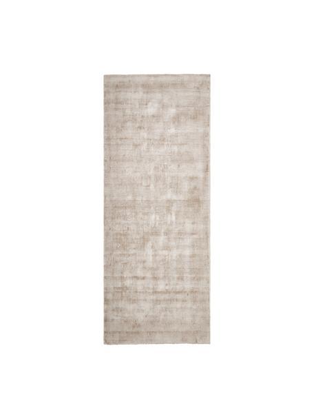 Handgeweven viscose loper Jane in beige, Bovenzijde: 100% viscose, Onderzijde: 100% katoen, Beige, 80 x 200 cm