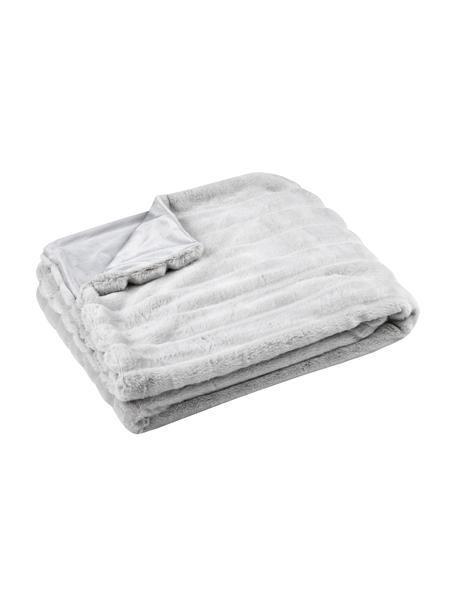 Zachte plaid Fluffy van kunstleer, 100% polyester, Lichtgrijs, 130 x 160 cm