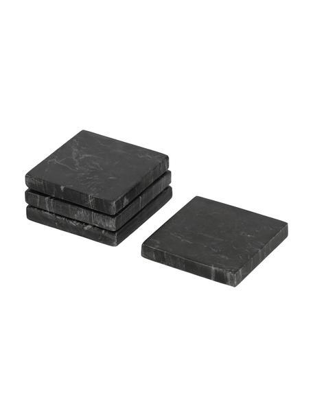 Komplet podstawek  z marmuru Johana, 4 szt., Marmur, Czarny, marmurowy, S 10 x G 10 cm