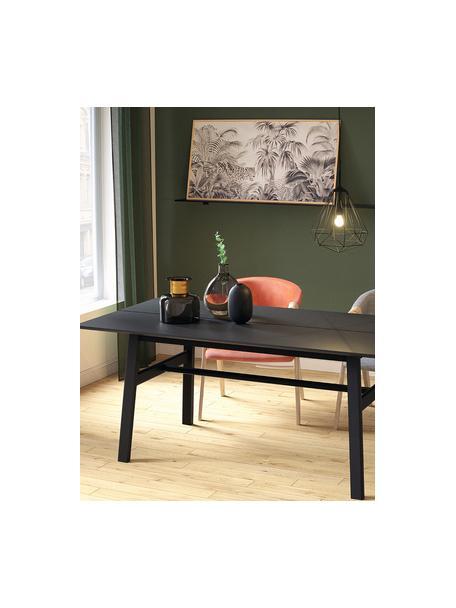 Eettafel Larson in zwart, Tafelblad: spaanplaat met eikenhoutf, Frame: massief beukenhout met ei, Zwart gelakt eikenhoutfineer, B 180 x D 90 cm