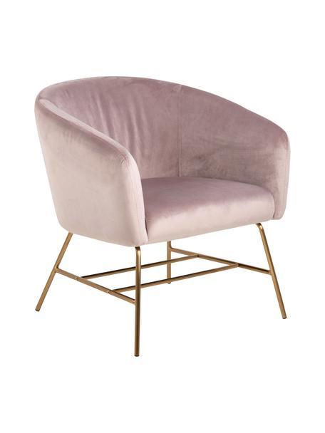 Moderne fluwelen fauteuil Ramsey in roze, Bekleding: polyester fluweel, Poten: gelakt metaal, Fluweel roze, B 72 x D 67 cm