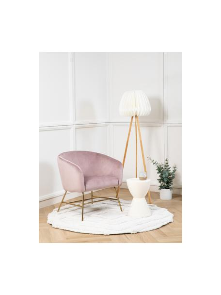 Poltrona moderna in velluto rosa Ramsey, Rivestimento: velluto di poliestere 25., Gambe: metallo laccato, Velluto rosa, Larg. 72 x Prof. 67 cm