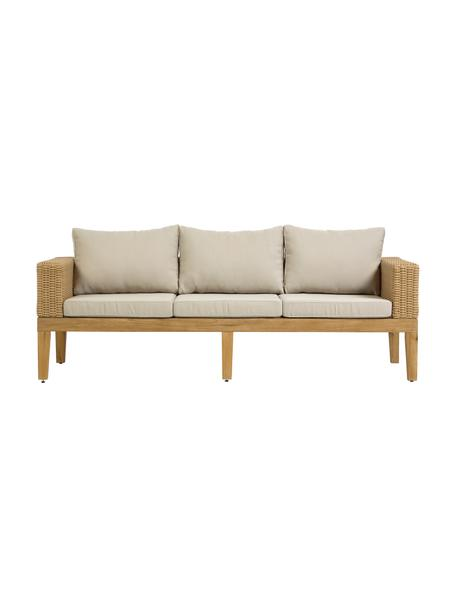 Divano 3 posti da giardino Giana, Piedini: legno di acacia, Sottostruttura: alluminio, Marrone, Larg. 193 x Prof. 80 cm