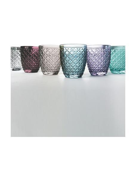 Waterglazenset Rombi, 6-delig, Glas, Multicolour, Ø 8 x H 10 cm