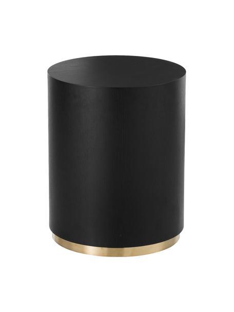 Ronde bijzettafel Clarice in zwart, Frame: MDF met essenhoutfineer, Voet: gecoat metaal, Zwart, Ø 40 x H 50 cm