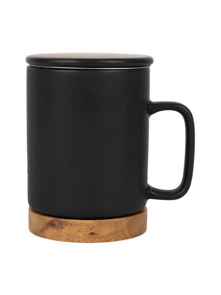 Steingut-Tasse Nordika mit Deckel und Sieb, Sockel aus Akazienholz, Sockel: Akazienholz, Sieb: Rostfreier Stahl, Schwarz, Ø 9 x H 12 cm