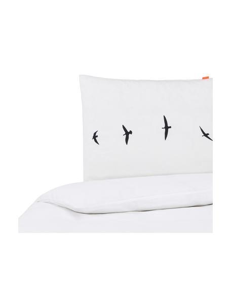 Dubbelzijdig dekbedovertrek Trip, Katoen, Bovenzijde: wit, zwart. Onderzijde: wit, 140 x 200 cm + 2 kussen 60 x 70 cm