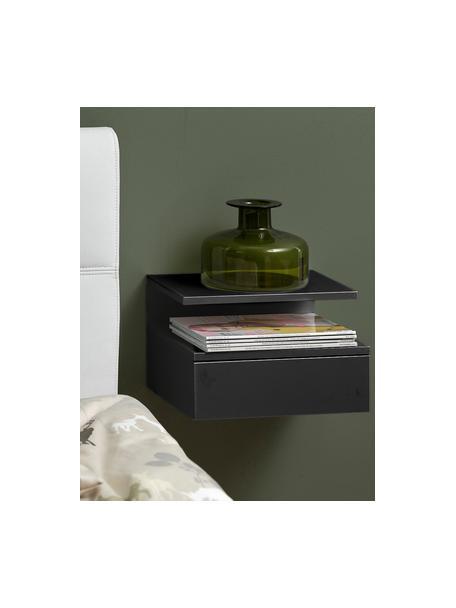 Wandnachtkastje Ashlan met lades, Gelakt MDF, Zwart, 35 x 23 cm