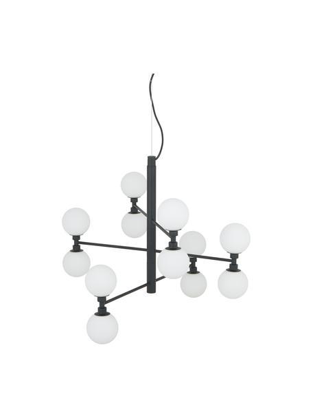 Lampada a sospensione con sfere in vetro Grover, Baldacchino: metallo verniciato a polv, Paralume: vetro opale, Nero, bianco, Ø 70 x Alt. 56 cm