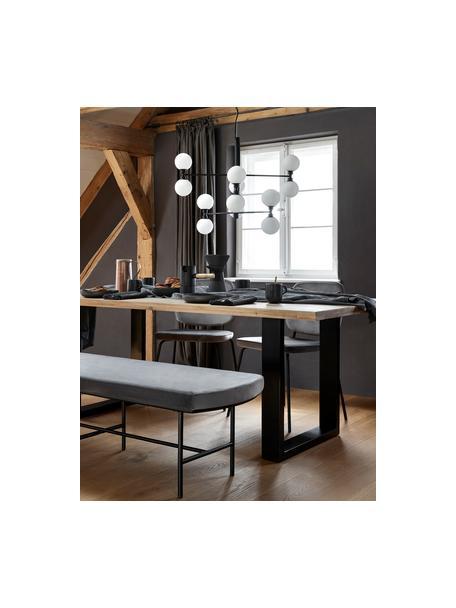 Große Pendelleuchte Grover mit Glaskugeln, Baldachin: Metall, pulverbeschichtet, Schwarz, Weiß, Ø 70 x H 56 cm
