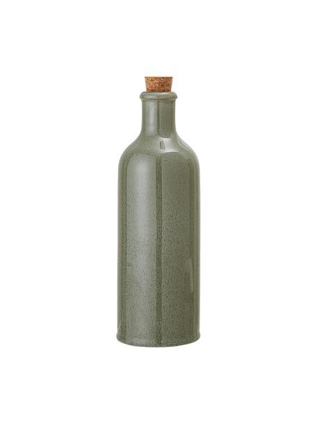 Handgemaakte azijn- en oliekaraf Pixie, luchtdicht, Fles: keramiek, Groentinten, Ø 8 x H 25 cm