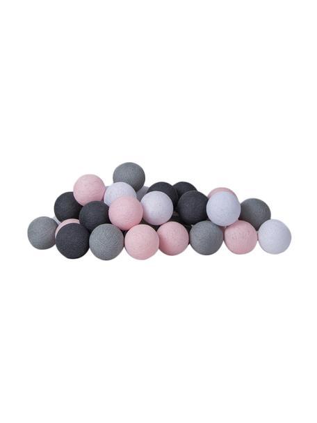 LED lichtslinger Colorain, 378 cm, 20 lampions, Wit, roze, grijstinten, L 378 cm