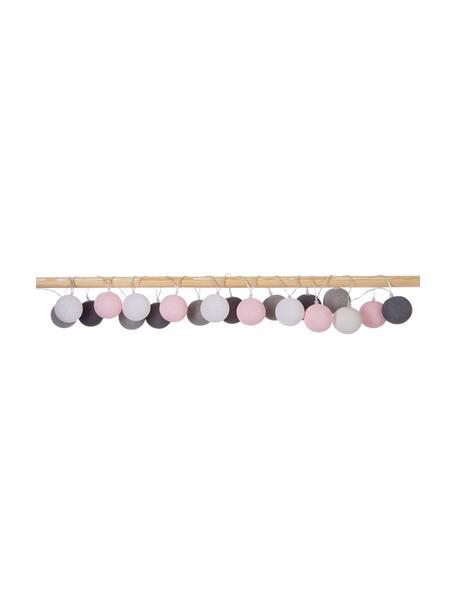 LED lichtslinger Colorain, 378 cm, 20 lampions, Lampions: polyester, Wit, roze, grijstinten, L 378 cm