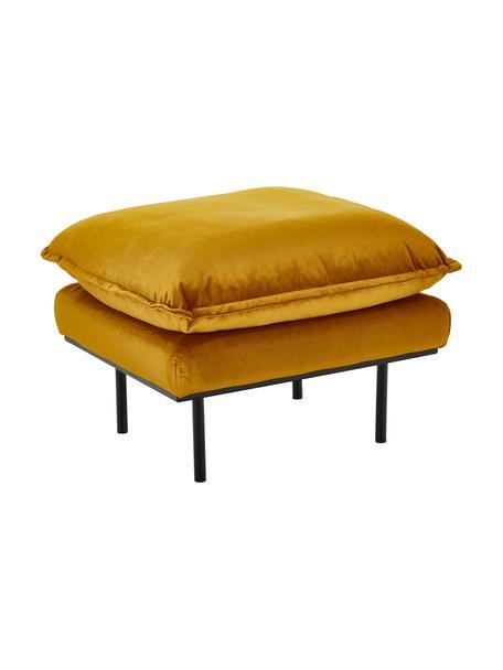 Fluwelen hocker Retro, Bekleding: polyesterfluweel, Frame: MDF, houtvezelplaat, Poten: gepoedercoat metaal, Okergeel, B 72 x D 65 cm