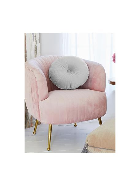 Cuscino in velluto effetto lucido con imbottitura Monet, Rivestimento: 100% velluto di poliester, Grigio argento, Ø 40