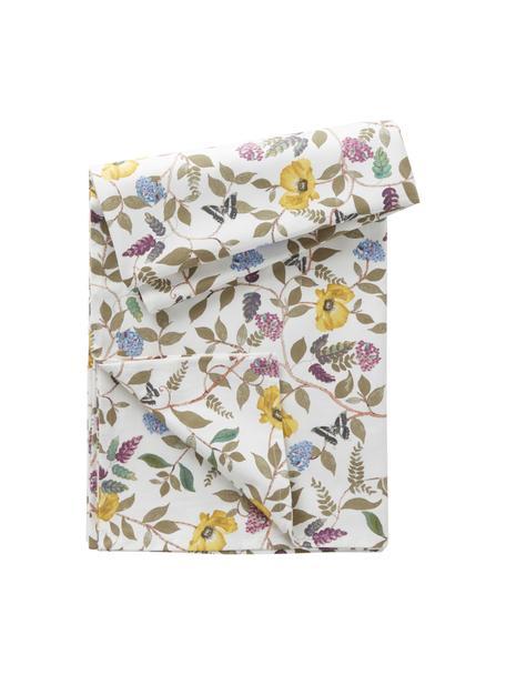 Tovaglia in cotone con motivo floreale estivo Cosmos, 100% cotone, Bianco, multicolore, Per 6-8 persone (Larg.145 x Lung. 250 cm)
